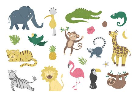 Vector set with cute exotic animals, leaves, flowers, fruits isolated on white background. Funny tropical birds and plants illustration. Bright flat picture for children. Jungle summer clip art