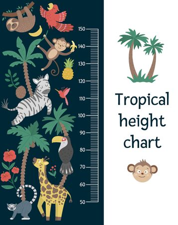 Vector cute height chart with exotic animals, birds, palm trees, leaves, flowers, fruits. Funny wall decoration with tropical monkey, zebra, lemur and plants. Jungle summer meter poster for kids Illustration