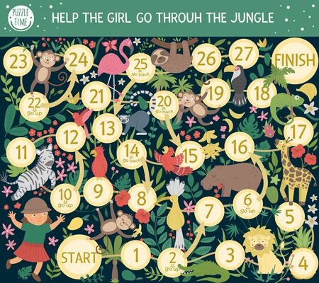 Tropical adventure board game for children with cute animals, plants, birds, fruits. Educational exotic boardgame. Help the girl go through the jungle. Summer game for kids