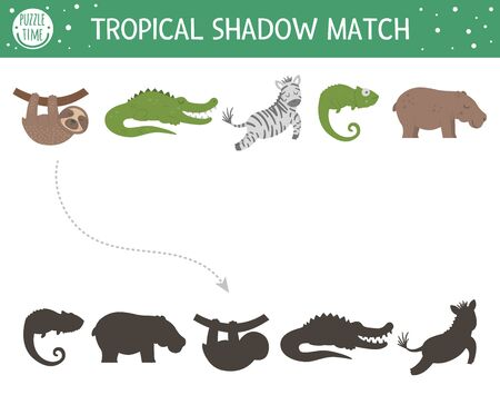 Tropical shadow matching activity for children. Preschool jungle puzzle. Cute exotic educational riddle. Find the correct tropic animal silhouette printable worksheet. Simple summer game for kids