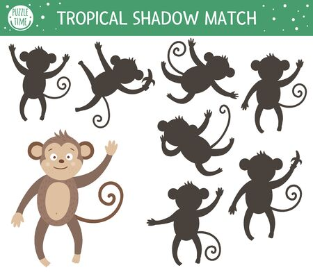 Tropical shadow matching activity for children. Preschool jungle puzzle. Cute exotic educational riddle. Find the correct monkey silhouette printable worksheet. Simple summer game for kids