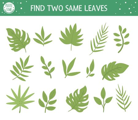 Find two same leaves. Tropical matching activity for preschool children with cute tropic plants. Funny jungle puzzle for kids. Logical quiz worksheet. Simple summer game for kids