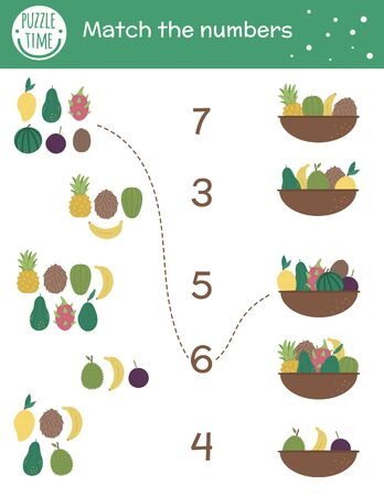 Matching game with baskets and exotic fruits. Tropical math activity for preschool children. Tropic counting worksheet. Educational riddle with cute funny elements. Simple summer game for kids