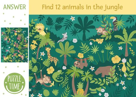 Tropical searching game for children with cute funny characters. Find hidden animals and birds in the jungle. Simple summer game. Ilustración de vector
