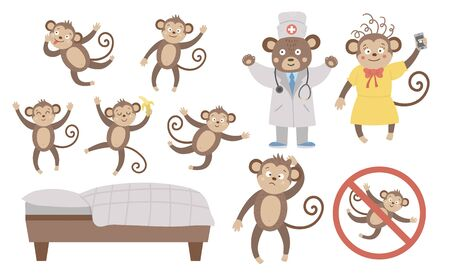 Vector set with cute five little monkeys, mommy, doctor, bed isolated on white background. Funny nursery rhyme and song illustration. Bright flat picture for children. Jungle summer clip art