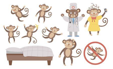 Vektorset mit niedlichen fünf kleinen Affen, Mama, Arzt, Bett isoliert auf weißem Hintergrund. Lustige Kinderreim- und Liedillustration. Helles flaches Bild für Kinder. Dschungel Sommer ClipArt