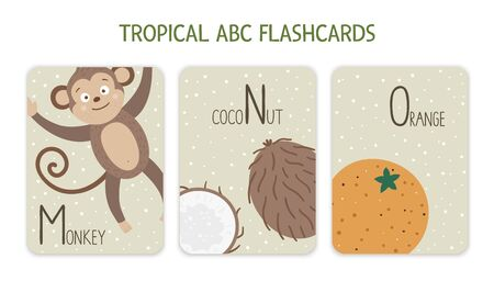 Colorful alphabet letters M, N, O. Phonics flashcard with tropical animals, birds, fruit, plants. Cute educational jungle ABC cards for teaching reading with funny monkey, coconut, orange. Vetores