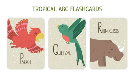 Colorful alphabet letters P, Q, R. Phonics flashcard with tropical animals, birds, fruit, plants. Cute educational jungle ABC cards for teaching reading with funny parrot, quetzal, Rhinoceros. Ilustração