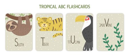 Colorful alphabet letters S, T, U, V. Phonics flashcard with tropical animals, birds, fruit, plants. Cute educational jungle ABC cards for teaching reading with funny sloth, tiger, toucan, jade vine. Ilustração