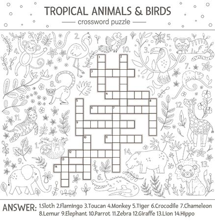 Vector summer crossword puzzle. Quiz with tropical animals and birds for children. Educational black and white jungle activity with cute funny characters. Fun coloring page for kids Ilustración de vector