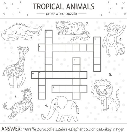 Vector summer crossword puzzle. Simple quiz with tropical animals for children. Educational black and white jungle activity with cute funny characters. Fun coloring page for kids