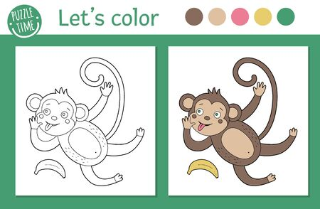 Tropical coloring page for children. Vector monkey illustration. Cute funny animal character outline. Jungle summer color book for kids with colored version and example