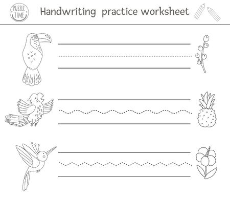 Vector handwriting practice worksheet. Printable black and white activity for pre-school children. Educational game for writing skills development. Tropical coloring page for kids with birds