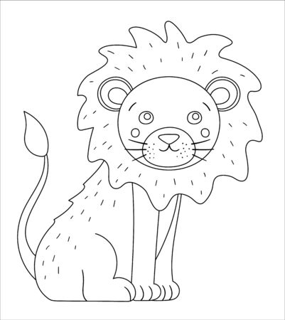 Vector cute lion outline. Funny tropical exotic animal black and white illustration. Fun coloring page for children. Jungle summer clip art