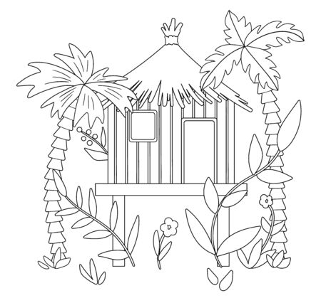 Vector black and white illustration of jungle hoot with palm trees and leaves. Tropical bungalow on stilts sketch. Cute funny exotic house in rainforest. Fun coloring page for kids