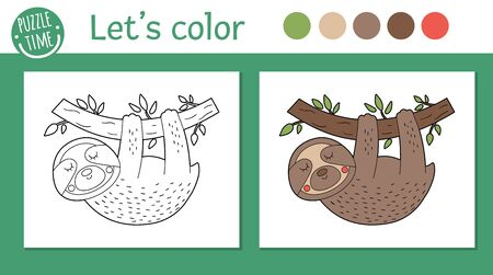 Tropical coloring page for children. Vector sloth illustration. Cute funny animal character outline. Jungle summer color book for kids with colored version and example Vector Illustration