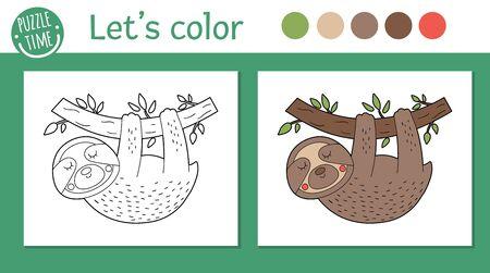 Tropische Malvorlagen für Kinder. Faultier Vektorgrafik. Netter lustiger Tiercharakterentwurf. Dschungel-Sommer-Farbbuch für Kinder mit farbiger Version und Beispiel Vektorgrafik