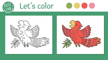 Tropical coloring page for children. Vector parrot illustration. Cute funny animal character outline. Jungle summer color book for kids with colored version and example