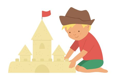 Vector kid constructing sand castle. Child doing beach activity. Cute boy isolated on white background. Fun summer illustration