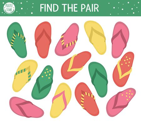 Find two same flip-flops. Summer matching activity for preschool children with beach shoes. Funny holiday activity for kids. Logical quiz worksheet. Simple printable game for kids