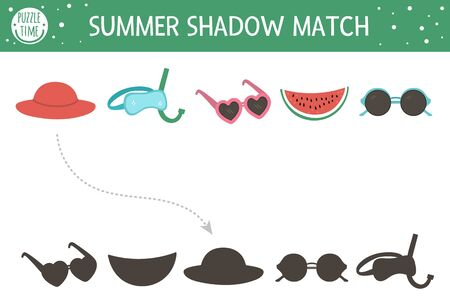 Summer shadow matching activity for children. Preschool sea vacation puzzle. Cute exotic educational riddle. Find the correct silhouette printable worksheet. Simple beach holiday game for kids