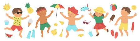 Vector summer set with children in swimming suits with beach objects. Cute happy kids collection. Fun sea holidays illustration. Summer design elements isolated on white background.