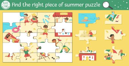 Find the right piece of summer jigsaw puzzle. Vector beach holidays cut and glue or sticker activity for children. Sea vacation educational crafting game with cute animal characters. 