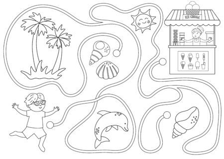 Summer black and white maze for children. Preschool beach holidays activity. Funny puzzle with cute boy, ice-cream stall, seashells. Holiday coloring game for kids. Printable activity with ice cream