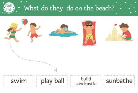 Summer matching activity children playing on the beach. Preschool sea vacation puzzle. Cute exotic educational riddle. Find the correct word printable worksheet. Simple language holiday game for kids