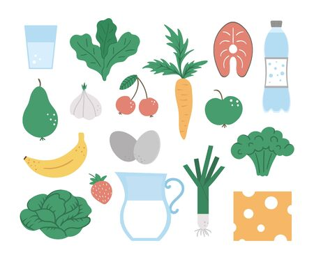 Set of vector healthy food and drink icons. Vegetable, milk products, fruit, berry, fish illustration isolated on white background. Flat hand drawn organic nutrition clipart.
