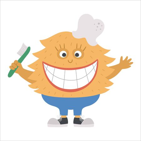 Cute toothy monster with broad smile. Funny character holding toothbrush. Creature with healthy teeth for kids. Dental care picture for children. Dentist baby clinic clipart with mouth hygiene concept
