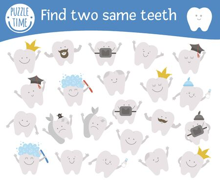 Find two same teeth. Dental care themed matching activity for preschool children with cute elements. Funny mouth hygiene game for kids. Logical printable worksheet with funny kawaii tooth.