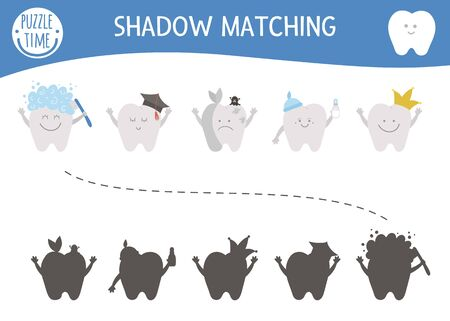 dental care shadow matching activity for children with cute teeth. Mouth hygiene preschool worksheet. Find the correct silhouette game with kawaii tooth.