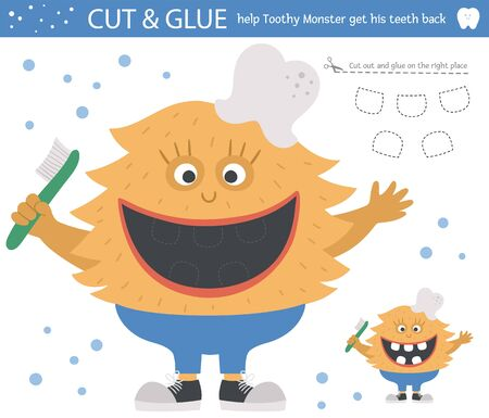 Vector dental care cut and glue activity for children. Tooth hygiene educational game with cute toothy creature. Help the monster get his teeth back. Иллюстрация