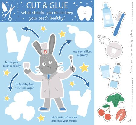 Vector dental care cut and glue activity for children. Tooth hygiene educational game with cute rabbit dentist and healthy teeth habits.