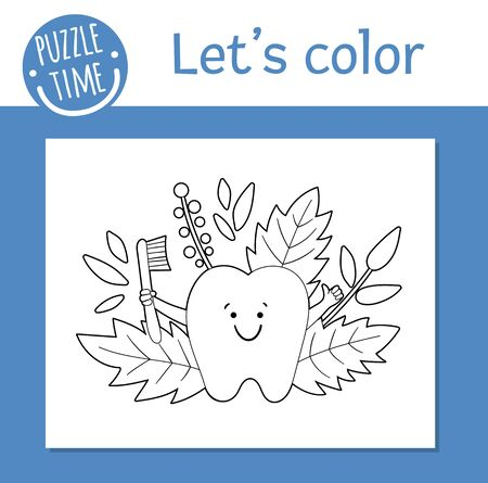 Vector coloring page with cute kawaii tooth holding toothbrush. Funny teeth care character. Dental themed outline clipart for children. Mouth hygiene illustration isolated on white background.