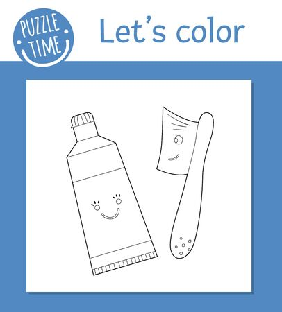 Vector coloring page with cute kawaii toothbrush and toothpaste. Funny teeth care characters. Dental themed outline clipart for children. Mouth hygiene illustration isolated on white background.