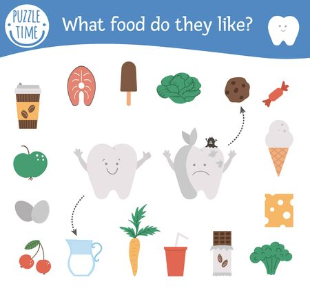 Dental care matching activity with cute teeth and different products. Preschool tooth care puzzle. Cute mouth hygiene educational game for kids. Healthy and unhealthy food printable worksheet.