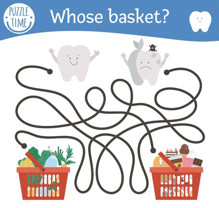Dental care maze with cute teeth and different products in shopping baskets. Preschool tooth care activity. Cute mouth hygiene educational game for kids. Healthy and unhealthy food labyrinth.