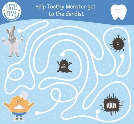 Dental care maze for children. Preschool teeth clinic activity. Funny puzzle game with cute doctor rabbit, ill toothy creature, microbes. Help the monster get to the dentist. Mouth hygiene labyrinth Иллюстрация