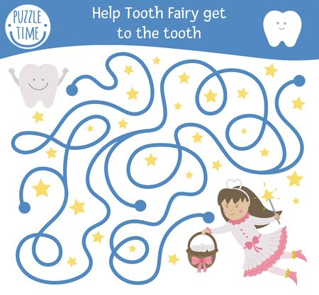 Dental care maze for children. Preschool dentist clinic activity. Funny puzzle game with cute fantasy girl and teeth. Help the Tooth Fairy get to the tooth. Mouth hygiene labyrinth for kids Иллюстрация