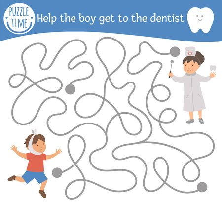 Dental care maze for children. Preschool medical activity. Funny puzzle game with cute doctor and child with aching tooth. Help the boy get to the dentist. Mouth hygiene labyrinth for kids