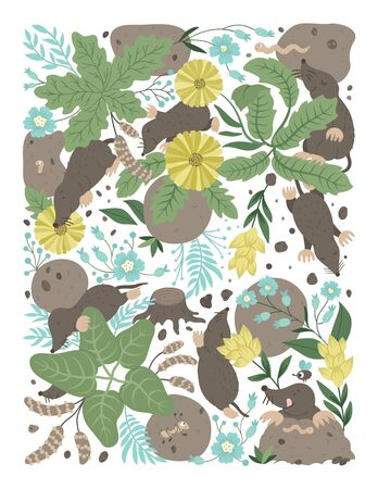 Vector ornate background with cute woodland animals, leaves, flowers, insects. Funny forest scene with moles. Bright flat vertical illustration for children. Picture book, hide and seek activity game for kids