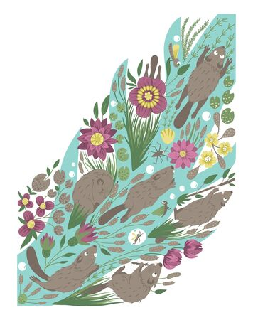 Vector ornate background with cute woodland animals, leaves, flowers, insects. Funny forest scene with beavers. Bright flat vertical illustration for children. Picture book, hide and seek activity game for kids