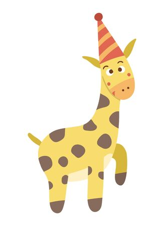 Vector cute giraffe in birthday hat. Funny b-day animal for card, poster, print design. Bright holiday illustration for kids. Cheerful celebration character icon isolated on white background.