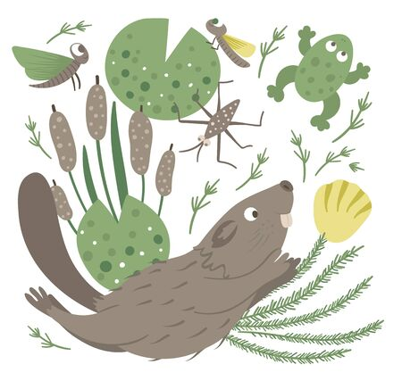 Vector cartoon style flat funny swimming beaver with frog, reeds, water insects clip art. Cute illustration of woodland animal for children's design.
