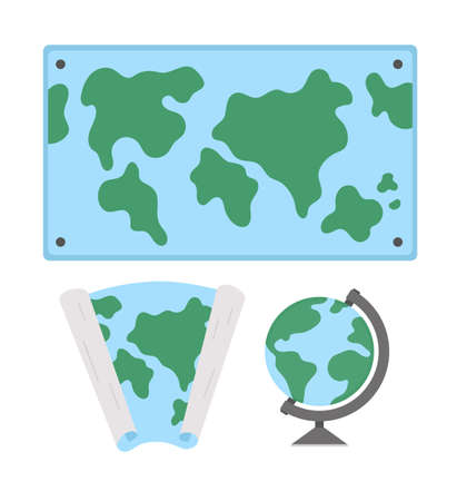 Vector world maps and globe illustration. Classroom signs collection. Back to school educational clipart. Geography class concepts