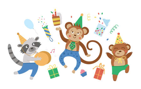 Cute party animals jumping with joy. Funny birthday card or invitation design. Bright vector illustration with sweet characters for kids. Holiday background for children Vectores