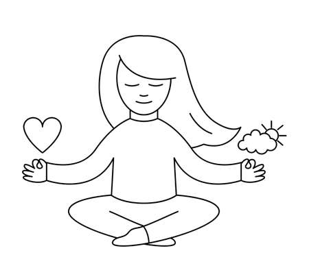 Vector girl sitting in relaxed pose with waving hair, holding heart in one hand and sun and cloud in the other hand. Meditation line icon. Eternal harmony concept. Feeling control contour drawing