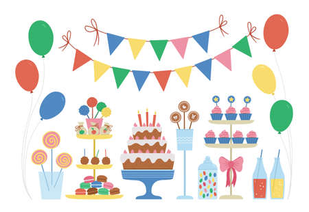Vector candy bar. Cute bright birthday meal with cake, candles, cupcakes, cake pops, jelly beans, flags. 